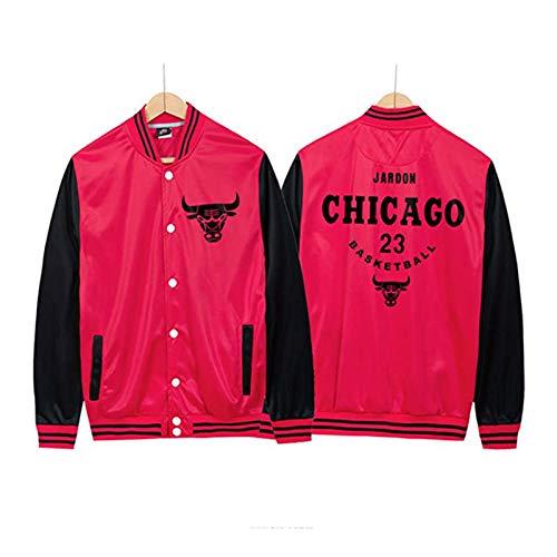 UIQB Chicago Bulls 23# Michael Jordanien (Michael Jordanien) Basketballjacke, Rote Basketballjacke Bomberjacke Geeignet Für Versammlungen, Outdoor-Sportarten Und Komfort red Black-L