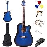 41 Inch Acoustic Guitar Professional 4/4 Full Size Cutaway Folk Guitarra Bundle ROSEFINCH 6 Metal Strings with Adults Beginner Kit Gig Bag,Strap,Picks,Steel Strings, Capo(41''Blue)
