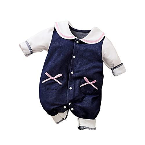 Bebé Recién Nacido Mameluco Bebé Niñas Lindo Moda Impresión De Una Pieza Ropa Azul Polo Camisas De Manga Larga Mono, azul, 12 meses