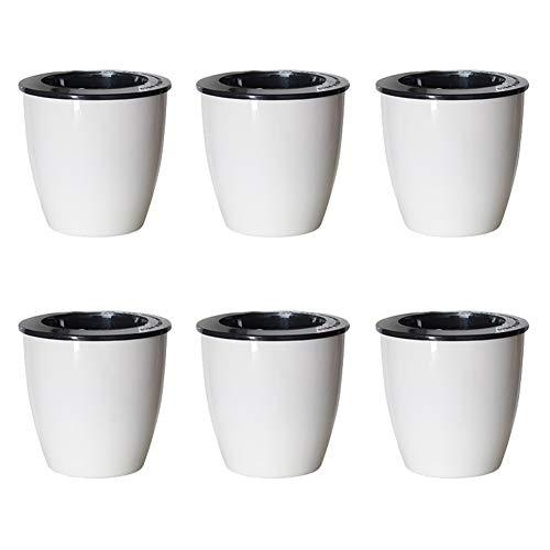 Sungmor Set van 6 Witte Plastic Zelf Wateren Bloempotten | Indoor Outdoor Kwekerij Bloempot | Creatieve Water Opslag Planter Container | Geschikt voor Kantoor, Bureaublad, vensterbank, balkon Size No.3(13cmD*13.7cmH) Kleur: wit
