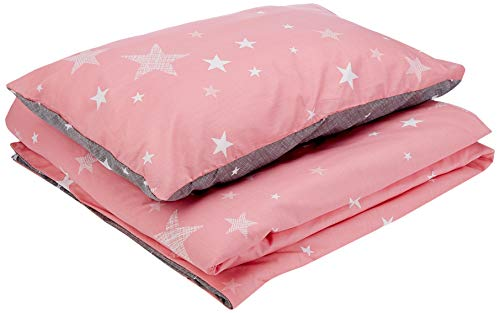 Dreamscene Galaxy Stars Duvet Cover with Pillowcase Kids Reversible Bedding Set, Blush Pink Grey, Single
