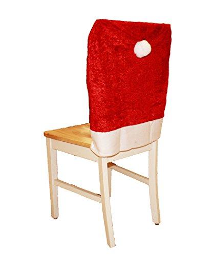 HAAC 6er Set Stuhlhusse aus Samt Mütze Motiv Weihnachtsmütze Farbe rot Weihnacht Weihnachten