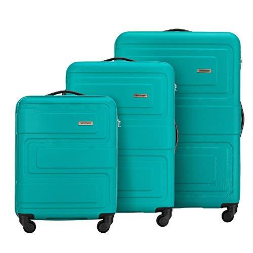 WITTCHEN 3tlg. Trolley Koffer Reisekoffer von Wittchen ABS Hartschalen Kofferset Trolley 4 Rollen Kombinationsschloss Gepäck S-M-L-Set Türkis