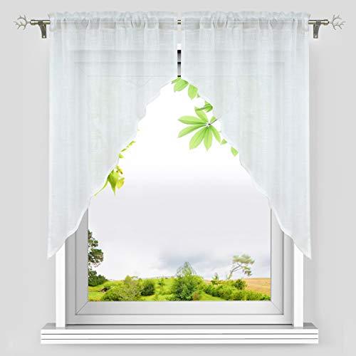 Heichkell Leinen-Optik Scheibengardinen 2-TLG. Kleinfenster Gardine mit Tunnelzug Elegante Bogen Kurzstores Küchengardinen aus Leinen Weiß BxH 80x80 cm (Jedes Stück)