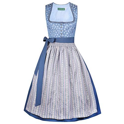 Country-Line Damen Trachten-Mode Midi Dirndl Gudrun in Blau traditionell, Größe:32, Farbe:Blau