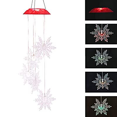 Topadorn Solar Mobile Wind Chimes Automatic Light Color Changing Chimes for Outdoor Garden Patio Yard Patio Yard Home Décor, Snowflake