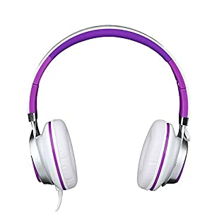 Intone Ms200 Stereo Low Bass Folding and Adjustable Headphone Earbuds - White / Purple