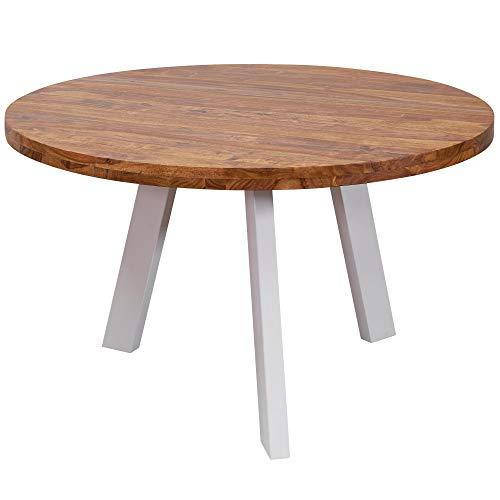 FineBuy Esszimmertisch rund 130x77x130 cm Sheesham Massiv Esstisch Beine Weiß | Runder Holztisch mit Metallbeinen | Massivholztisch Esszimmer | Küchentisch Massivholz | Speisetisch Echt-Holz