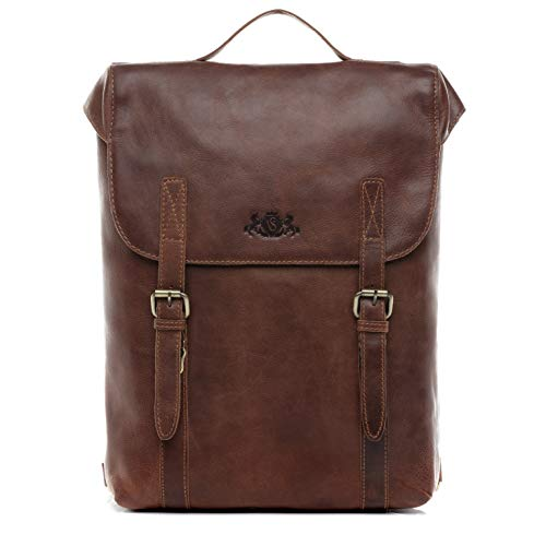 "SID & VAIN Rucksack echt Leder Eton groß Kurierrucksack Laptoprucksack Backpack Tagesrucksack Laptopfach 15.6"" Lederrucksack Unisex braun"