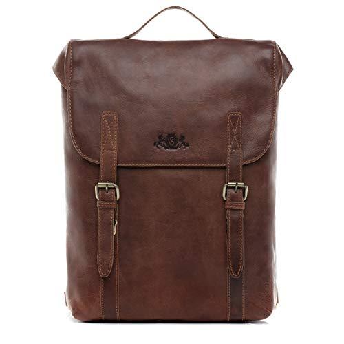 SID & VAIN Rucksack echt Leder Eton groß Kurierrucksack Laptoprucksack Backpack Tagesrucksack Laptopfach 15.6