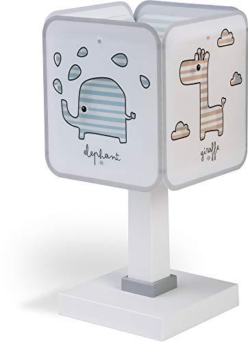 Dalber - Lampada da tavolo E-14, Zoo per bambini, Multicolore, 14 x 14 x 29