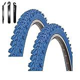 maxxi4you Kenda K-829 - Cubiertas para bicicleta de montaña (2 unidades, 26 x 1,95, incluye 3 desmontadores), color azul