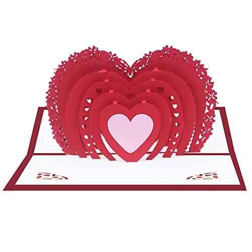Akaddy Love 3D Pop-up-Karten Valentinstag Geschenkaufkleber Hochzeitseinladungskarten für Thanksgiving Day Valentinstag Geschenke DIY Geschenkkarte