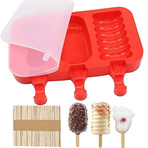 Silikon EIS am Stiel Formen, Eisformen Popsicle Formen Set, Stieleisformen mit Deckel, Mit Holz Popsicle Sticks, für DIY Selbstgemachtes EIS