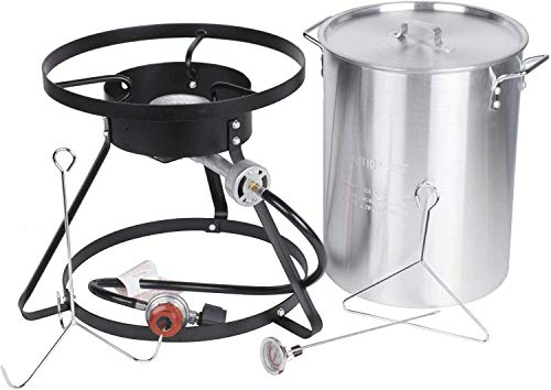Backyard Pro Weekend Series 30 Qt. Turkey Fryer Kit with Stainless Steel Stock Pot and Accessories - 55,000 BTU Thanksgiving Outdoor Cooking