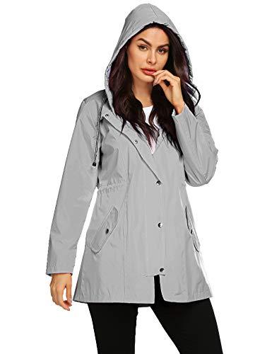 Avoogue Women's Trench Coats Raincoats Waterproof Lightweight Rain Jacket Active Outdoor Hooded Grey S