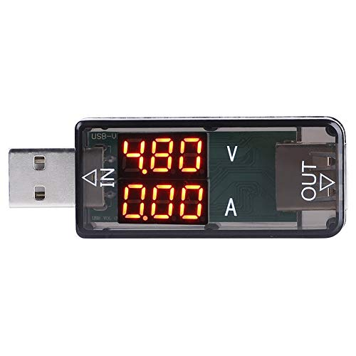 Akozon USB 2.0 Tester USB Power Meter 3.2-10V 0-3A Voltage Current Tester Power Meter Color Display Voltmeter Ammeter(Black)