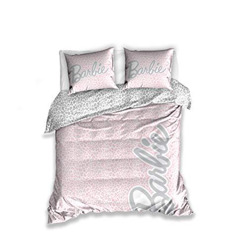 Barbie Funda nórdica con dos fundas de almohada de 160 x 200 + 2 x 70 x 80 cm de algodón satinado
