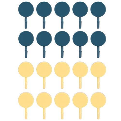 Gancho para colgar, gancho para toallas de acero inoxidable, gancho para colgar sin perforaciones Gancho autoadhesivo 3.0x2.0x1.2in Colgador de pared pequeño para(Dark blue + yellow)