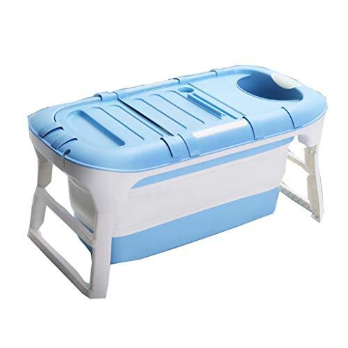 YLJJ Adult Portable Massage Bathtub,Foldable Children's Bathtub,Household Bathtub,Shower Room Soaking Bathtub,Blue + Cover,114 * 60 * 55cm