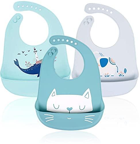 Baberos Bebé Silicona - RIGHTWELL 3 Piezas Baberos de Alimentación Niña Niños Pequeños Unisex con Bolsillo Súper Suave Fáciles de Lavar Animales Ajustable Reutilizables Recolector Migas de Alimentos