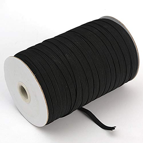 Elastic Band for Sewing, 200 Yards 1/5' (5mm) Black Elastic Rope, Elastic String, Stretch Cord for Sewing DIY Crafts & Bedspreads & Cuffs (Black)