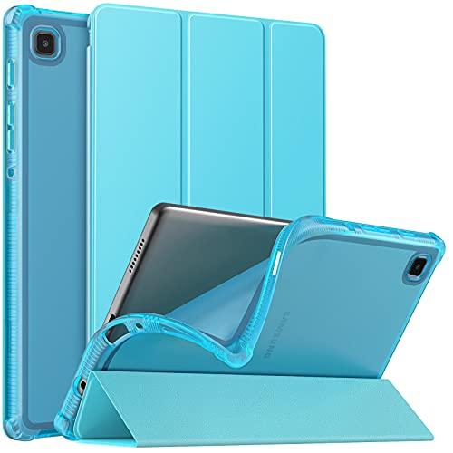 MoKo Custodia Protettiva Compatibile con Samsung Galaxy Tab A7 Lite 8.7 Pollici (SM-T225/SM-T220) 2021 Tablet, Retro Trasparente in TPU Ultra Sottile Leggero, Custodia in Tre-Ante, Blu Pavone