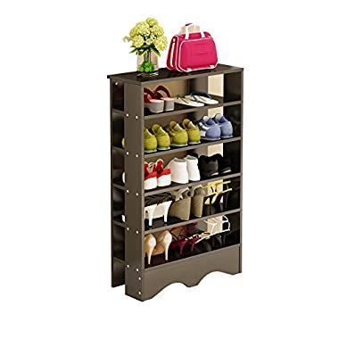 Soges Shoe Racks 5 Tiers Solid Wood Shoes Storage Shelf Free Standing Shoes Organizer Black, L15-B