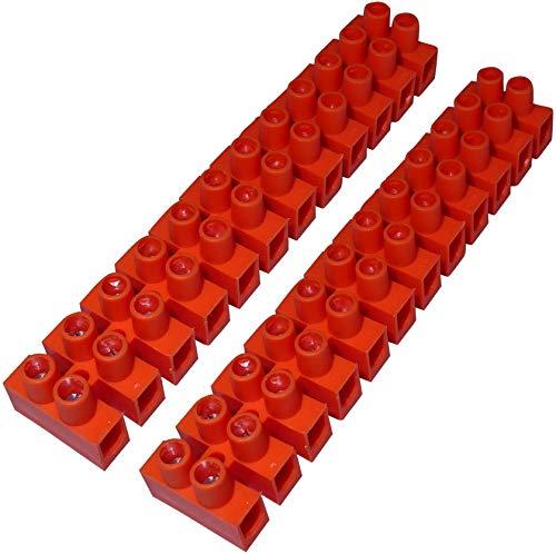 AERZETIX: Juego de 2 regletas de terminales conexión por tornillo 12 pistas posiciones cables 2.5mm² 400v naranja C42822