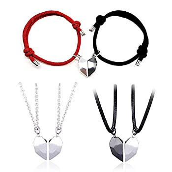 6 Pcs Two Souls One Heart Pendant Chain Necklaces String Bracelets Lightweight Wishing Stone Creative Magnet Couple Necklace for Women Men Teens Couple Anniversary Jewelry Set Gifts