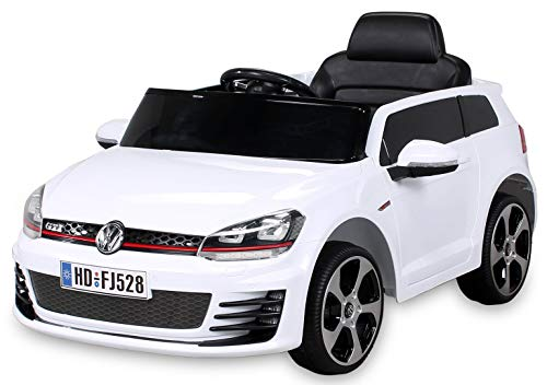 Actionbikes Motors Kinder Elektroauto VW Golf GTI Original Lizenz Kinderauto Kinderfahrzeug Elektro Auto Spielzeug Für Kinder (Weiß)