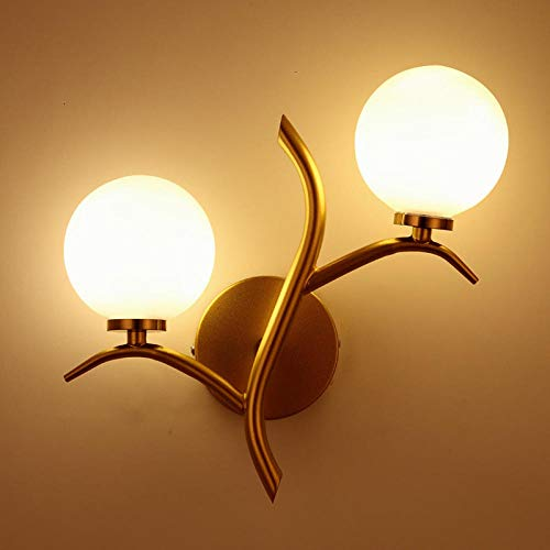 Smyzll Nordic doppelköpfige Wandleuchte goldene Innendekoration Schlafzimmer Nachtwandleuchte postmoderne Freizeitwandleuchte