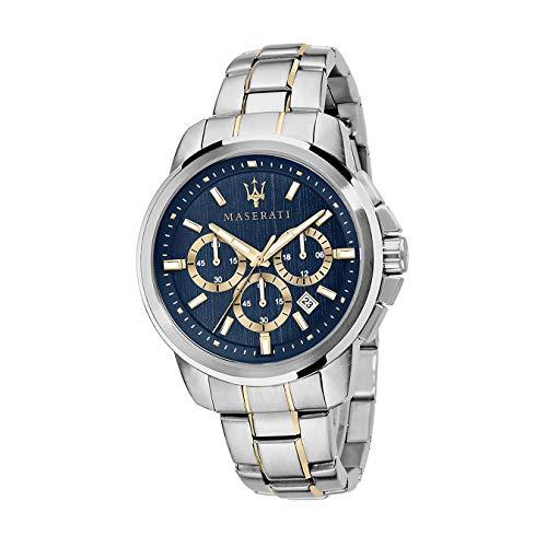 Maserati Armband-Uhr Herren Chronograph Edelstahl Silber Successo D2UMAR8873621016 EIN Geschenk zu Weihnachten, Geburtstag, Valentinstag für den Mann