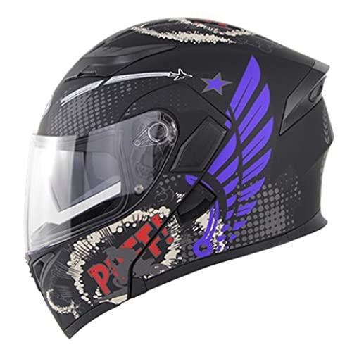 Casco de Moto Integral Homologado con Pantalla y Visera Parasol Desplegable | Ventilación | Hombre o Mujer Casco Moto Modular ECE Homologado,Black 2,XXL