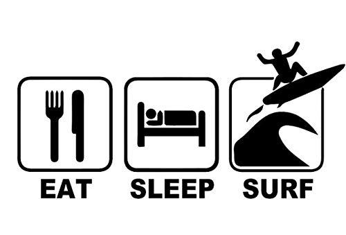 Pegatina para coche, diseño de afición para comer durmiendo, surf, tamaño 15 x 24 cm (color: 1)