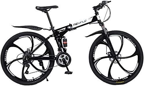 Bicicleta Plegable 21/24/27 Velocidad Bicicleta de montaña 26 Pulgadas 6 Ruedas de Habla MTB Dual Suspensión Bicicleta 27speed-27 Velocidad