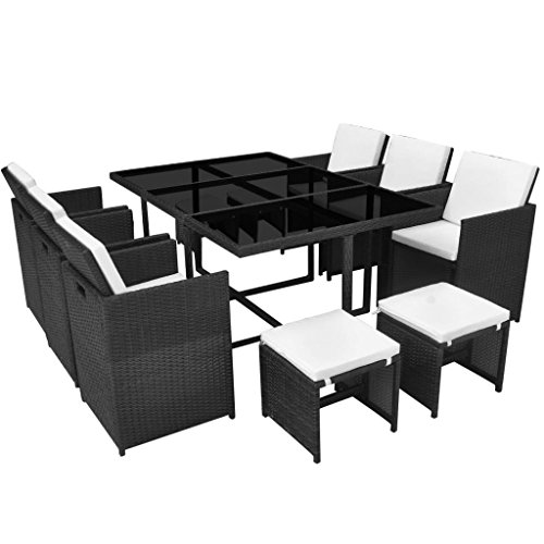 vidaXL Outdoor Dining Set 11 Piece with Cushions Rattan Dining Room Set Garden Furniture Patio Dinner Table and Chairs Poly Rattan Black