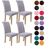 Colorxy Velvet Spandex Chair Covers for Dining Room Set of 4, Soft Stretch Chair Protectors Slipcovers, Removable and Washable, Light Grey