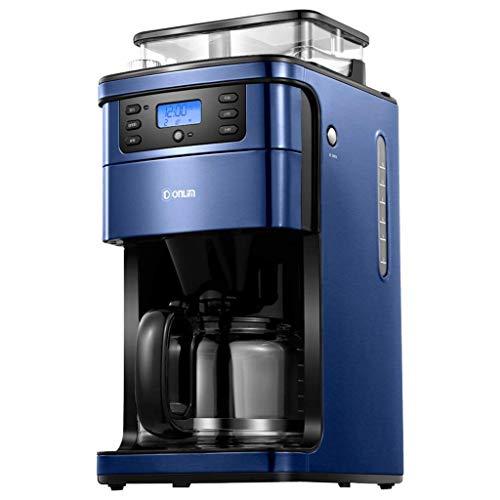 HaoLi Cafetera de Goteo, máquina de café automática para moler y Preparar con Molinillo de café de Rebabas Incorporado, Modo de Temporizador programable y Placa para Mantener Caliente