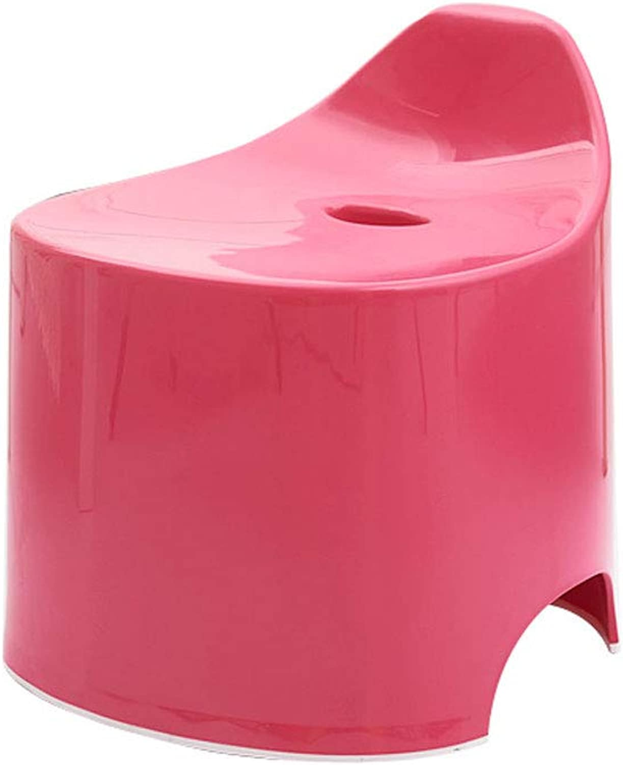 Candy color Bathroom Stool Plastic Thickened Stool Multi-Function Household Anti-Slip Stool (color   pink red)