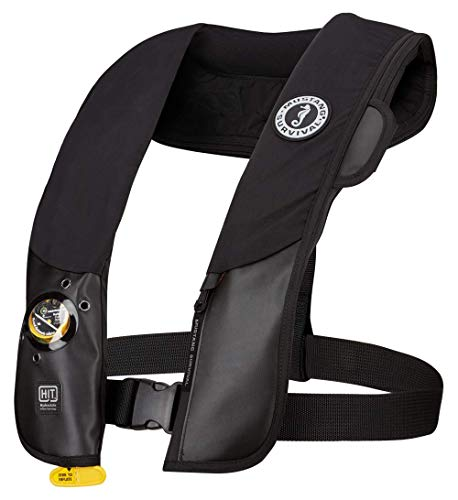 Mustang Survival HIT Inflatable PFD with Sailing Harness for Adults (Black - One Size Fits All) Designed for Sailors, Auto Hydrostatic and Fluorescent Inflation Cell