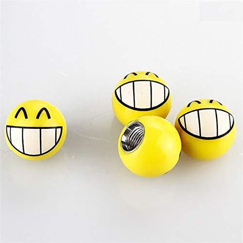 FYLYHWY 4 unids Universal Motorbike Coche Neumático Válvula Tapa Rueda Polvo Cubre Divertido Yellow Smile Face Ball Coche Estilismo Válvula Neumático (Color : H01)