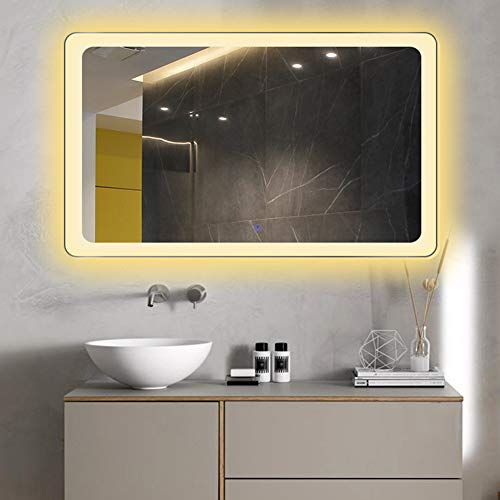 BAIHAO Espejo de baño Multifuncional con Interruptor táctil Espejo Iluminado por LED, Espejos de Maquillaje rectangulares Impermeables antivaho