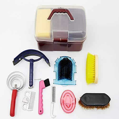 Kit de Cuidado de Caballos Kit de Cuidado de Limpieza de Caballos, Professional Horse Cleaning Tool Kit, Juego de Herramientas de Limpieza de Caballos, 10 Piezas,Red Box