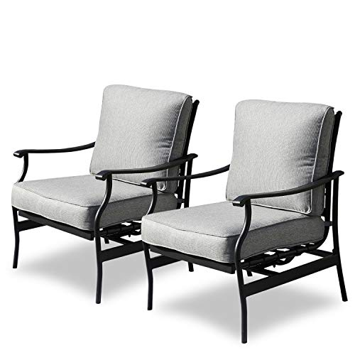 Patio Festival 2Pcs Outdoor Chair Patio Rocking Dining Chairs with 5.1 Inch Seat Cushions (Grey)