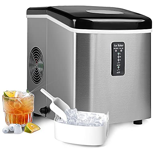 SMETA Countertop Ice Maker Machine Stainless Steel Finish|Compact Ice Maker, 3 Size Bullet Ice Ready in 8 Mins, 30Lbs/24H, Portable Ice Cube Maker with Scoop Basket, for Home/Kitchen/Office/Bar