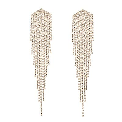 Long Rhinestone Fringe Earrings - Big Rhinestone Metal Chain Tassel Dangle Earrings for Women Girls, Large Bling Crystal Rhinestone Chandelier Drop Earrings (Long Gold Golden Rhinestone Earrings A)
