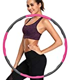 ulocool Hula Reifen Hoop Fitness zur Gewichtsreduktion und Massage, 6-8 Segmente Abnehmbarer Hoola Hoop für Erwachsene & Kinder (Rosa)