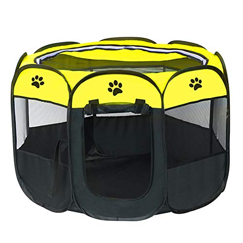 LIUZHI Jaula de juegos para perros y gatos, juegos de mascotas portátil, tela suave plegable para mascotas al aire libre para cachorros, fácil operación