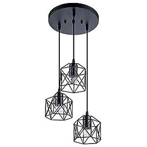 VILUXY Industrial 3-Light Pendant Lighting, with Black Metal Cage Shade, Adjustable Pendant Light for Kitchen Living Room Bedroom Hallway or Bar